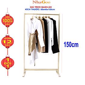 Giá Treo Quần Áo Gỗ Thanh Đơn NHAGOO Cao 150cm