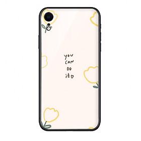 Ốp lưng KÍNH CƯỜNG LỰC VIỀN ĐEN cho iPhone XR YOU CAN DO IT - Hàng chính hãng