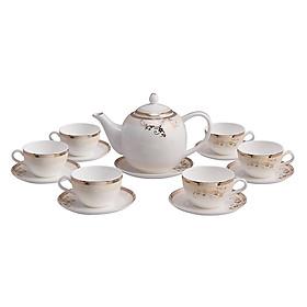 Bộ tách trà sứ xương 14 món Bone Porcelain (Bình 1L, tách 130ml) (Nhiều hoa văn)