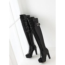 Giày boot nữ cổ cao da bóng đen hiện đại GCC3301