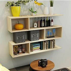 Kệ sách treo tường - Kệ gỗ trang trí 3 tầng dài 120cm x rộng 75cm  x sâu 20cm