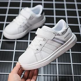 Giày trắng cho bé trai bé gái 6 - 15 tuổi học sinh tiểu trung học da mềm siêu nhẹ GE47