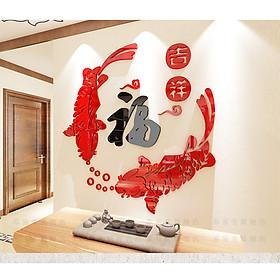 Tranh Cá - Song ngư dán tường trang trí biểu tượng cho thịnh vượng, hạnh phúc tràn đầy