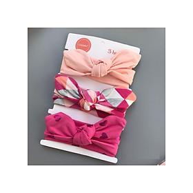 Set 3 Băng Đô Tai Thỏ Cotton Co Dãn Xinh Xắn Dành Cho Bé Gái (Giao màu ngẫu nhiên)