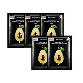 Combo 5 Mặt Nạ Cấp Ẩm Chiết Xuất Quả Bơ JM Solution Water Luminous Avocado Nourishing In Oil Mask 35ml x 5