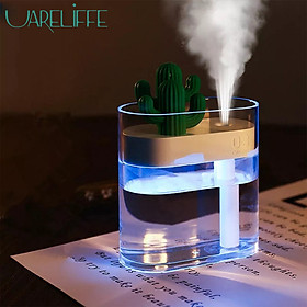 Uareliffe Clear Cactus Air Humidifier 160ML Ultrasonic Water Atomizer With Color Light USB Charging Air Purifier Nano Atomization Moisturize Skin Water Diffuser Office Home Use