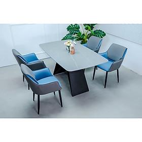 Bộ bàn ăn chân sắt mặt đá 4 ghế BBA-47