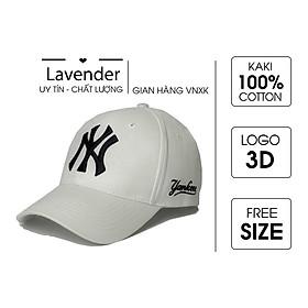 Nón kết Mũ lưỡi trai NY trắng logo thêu đen dành cho nam nữ Free size - Full hộp