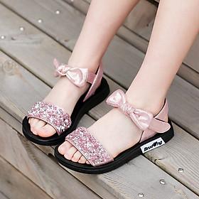Dép sandal bé gái 3 - 12 tuổi màu hồng da mềm đính nhũ điệu đà và duyên dáng đi học đi biển mùa hè SG33