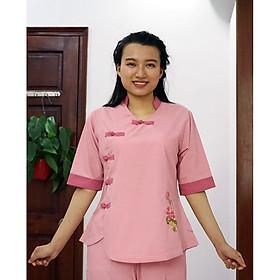 Áo Lam, Đồ Lam, Bộ quần áo đi lễ chùa trang nhã dễ thương cho nữ màu hồng