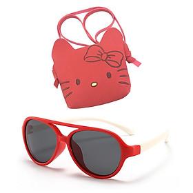Combo Kính mát cho bé gọng dẻo và Túi đeo chéo họa tiết Hello Kitty dễ thương