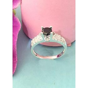 Hình đại diện sản phẩm Nhẫn nữ Bạc Quang Thản 100% bạc ta không xi mạ ổ cao gắn đá màu đen - NU20(bạc)