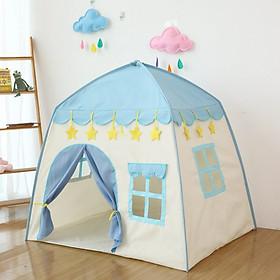 Lều công chúa hoàng tử hình chóp ngôi nhà - màu xanh