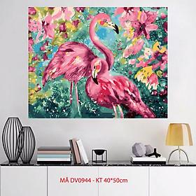 Tranh tự tô màu theo số sơn dầu số hóa Đôi chim Hồng hạc Flamingo Tranh chim hạc DV0944