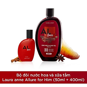 Bộ đôi nước hoa và sữa tắm Laura anne Allure for him