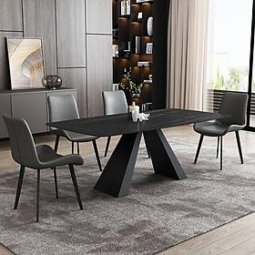 Bộ bàn ăn chân sắt mặt đá ceramic và 4 ghế nệm cao cấp BBA-37