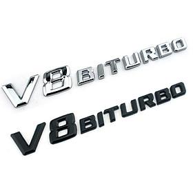 Decal tem chữ V8-Biturbo dán hông xe Mercedes V8BT chất liệu Nhựa ABS cao cấp