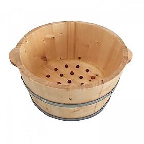 Chậu gỗ ngâm chân có hạt Matxa - Tặng thuốc ngâm chân và 01 chai rượu gừng hạ thổ 500ml
