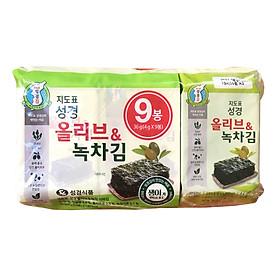 Bịch 9 Gói Lá Kim Ăn Liền Vị Trà Xanh Và Oliu Sung Gyung Hàn quốc (9 gói x 4g)
