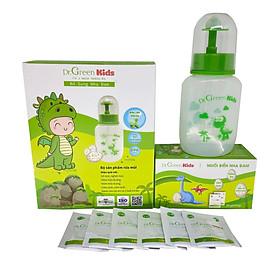 Bình rửa mũi cho trẻ Dr.Green Kids, kèm 30 gói muối rửa mũi, dung tích 180ml, đầu rửa silicon mềm mại, phù hợp rửa mũi với trẻ em