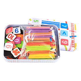 Baby Toys Educational Arithmetic Rods Math Toys Iron Box Counting Stick Wooden Toys Child Gift