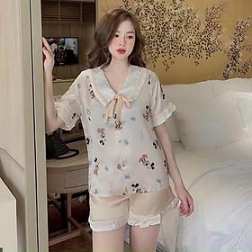 sét đồ bộ mặc ở nhà pijama nữ đùi dể thương hot trend