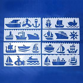 Bộ 8 Thước Vẽ Mỹ Thuật Trang Trí Sáng Tạo - Tàu Thuyền