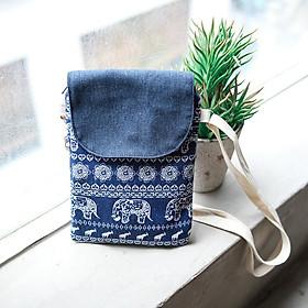 Túi đeo chéo nữ họa tiết Thổ Cẩm Voi có khóa kéo