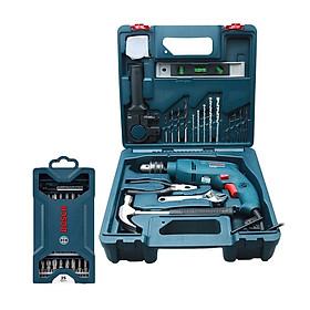 Bộ máy khoan động lực Bosch GSB 550 MP SET 19 chi tiết + Bộ mũi vặn vít Bosch 25 món (xanh dương)