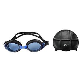 Bộ Kính Bơi View V500S-BLBK (Xanh Đen) Và Nón Bơi View V31-BK (Đen)