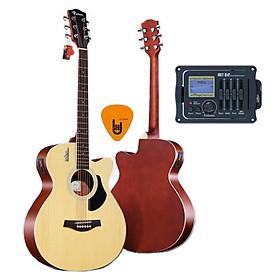 [Gắn EQ] Đàn Guitar Acoustic Rosen G11 Màu Gỗ Dáng A và EQ Mings AGA MET-B12 (Đàn đã gắn sẵn EQ) - Phân Phối Chính Hãng - Kèm móng gẩy DreamMaker