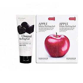 Combo 1 Tẩy Tế Bào Da Chết Chiết Xuất Từ Than Hoạt Tính ARRAHAN CHARCOAL PEELING GEL (180ml) và 1 Tẩy da chết SÁNG DA SẠCH MỤN Beauskin Apple White Peeling Mini Size