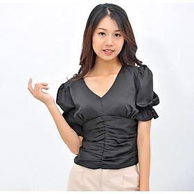 Áo kiểu thời trang Eden dáng ngắn cổ tim tay phồng. Chất liệu mềm mại, không nhăn - ASM088