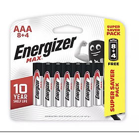Pin Max 8 + 4 Viên Energizer E92 BP8+4 AAA