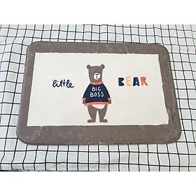 Thảm Lau Chân Cotton Len Cừu Hình Little Bear
