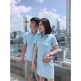Set đồ đôi áo váy cặp CoupleTina 100% cotton cao cấp - Màu xanh biển