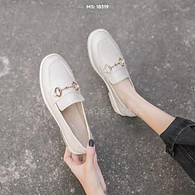 CÓ SẴN ẢNH THẬT Giày Loafer Moca bệt búp bê nữ học sinh văn phòng da mềm 3cm ảnh thật có sẵn ulzzang xuất fullbox video