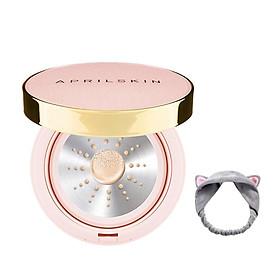 [Pink Case] Phấn Nước Aprilskin Magic Essence Shower Cushion SPF50/PA++++ 13g + Tặng kèm 1 băng đô tai mèo xinh xắn ( màu ngẫu nhiên)-0