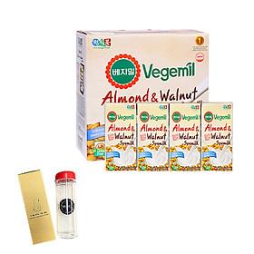 Lốc 16 hộp Sữa đậu nành, hạnh nhân và óc chó Vegemil 190ml - Tặng 1 bình nước 500ml nhập khẩu Hàn Quốc