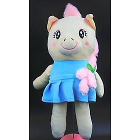 Thú Nhồi Bông Bé Unicorn Kì Lân Mặt Váy Siêu Mềm 40 cm (Tặng kèm móc khóa da bò thật màu ngẫu nhiên)  BA00167