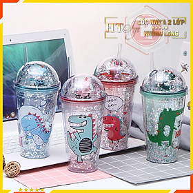 Cốc uống nước Khủng Long Cute 3D-HT SYS-430ml-Ly uống nước có nắp đậy và ống hút-Giao màu ngẫu nhiên