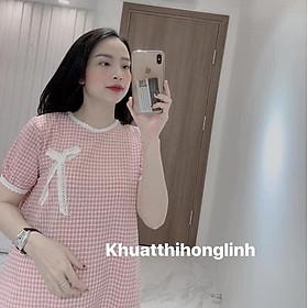 Váy kẻ thô viền ren màu đỏ