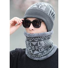 Nón mũ len kèm khăn choàng nam - Tặng vòng tay chuổi hạt - NL26A