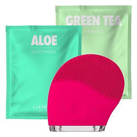 Combo Máy Rửa Mặt Và Mát Xa Da Mặt Halio + 2 Mặt Nạ Lixibox Aloe Và Green Tea