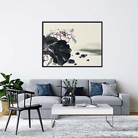 Tranh Canvas treo tường hoa sen họa tiết đơn giản - HS004