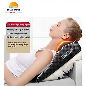 Gối Massage Đa Năng, Massage Tựa Lưng Xe Hơi - Gối Mát Xa Hồng Ngoại Bản 16 Bi Lăn Cao Cấp+ Rung Massage Lưng Đa Chức Năng