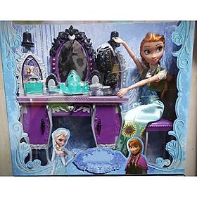 Bộ đồ chơi búp bê Nữ hoàng băng giá Frozen Elsa váy hoa và mô hình phụ kiện bàn ghế trang điểm (màu sắc ngẫu nhiên)