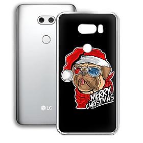 Ốp lưng điện thoại LG V30 - 01253 7934 BULLDOG01 - In hình Bulldog chúc mừng Giáng Sinh - Silicon dẻo - Hàng Chính Hãng