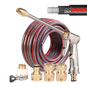 Combo vòi rửa xe tăng áp, vòi tưới cây LionKing 10 mét CU-RF10. Ống nước dài 10 mét kết cấu 5 lớp, chống gập, chống xoắn, vòi phun và các khớp nối bằng kim loại. Bộ sản phẩm phù hợp cho việc tưới cây, rửa xe và vệ sinh nhà cửa.