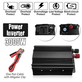 3000W Peak 12V DC To 220V Solar Power Inverter AC Modified Sine Wave Converter-Black
